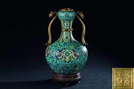 清代(1644~1911) 铜掐丝珐琅如意耳瓶