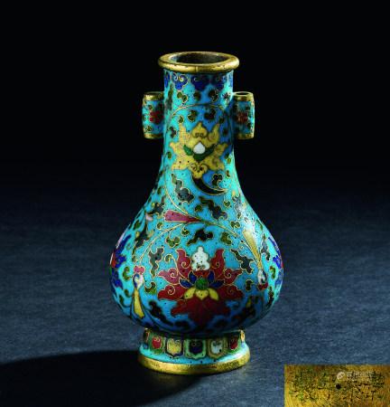 清代(1644~1911) 铜掐丝珐琅缠枝莲纹贯耳小瓶