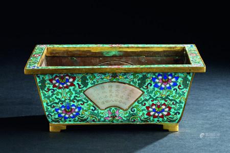 清代(1644~1911) 铜掐丝珐琅嵌玉诗文长方花盆