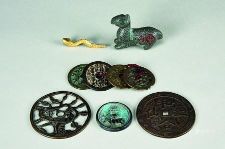 各式古铜币 青铜错银丝瑞兽摆件等 (六件一组)