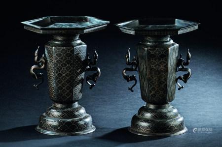 铜错银锦地纹双龙耳六角瓶 (一对)