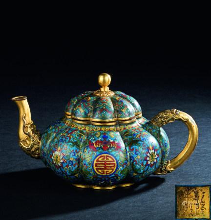 清代(1644~1911) 铜掐丝珐琅寿字缠枝莲纹瓜棱茶壶