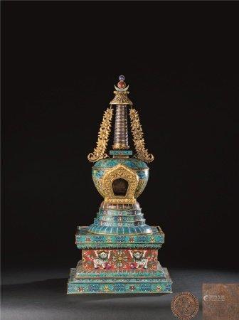 清代(1644~1911) 铜掐丝珐琅缠枝花卉纹佛塔
