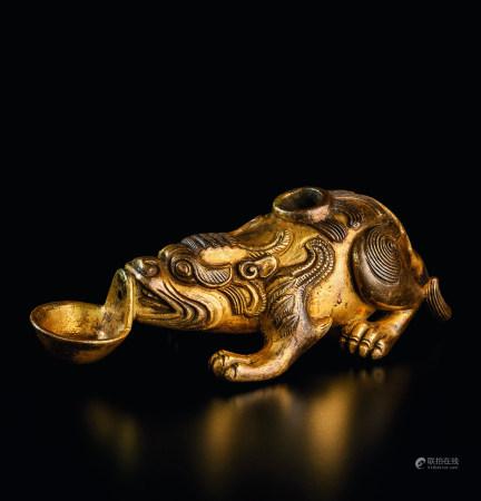 清代(1644~1911) 铜鎏金瑞兽水滴