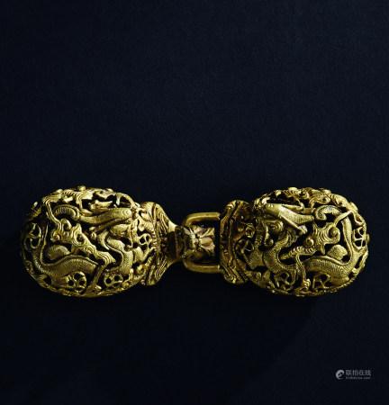 铜鎏金龙纹带钩 (一对)
