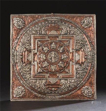 清代(1644~1911) 铜错银斯巴霍坛城 唐卡