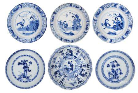 Six Chinese porcelain small dishes, 18th century, each painted in underglaze blue, three with a