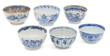 Six Chinese porcelain tea bowls, 18th-19th century, four painted in underglaze blue with abstract