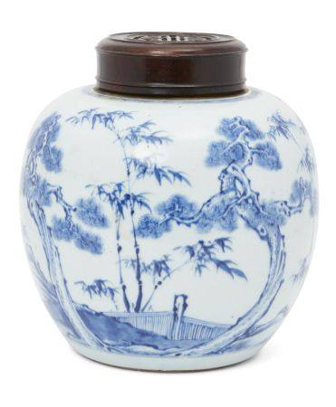 A Chinese porcelain 'three friends of winter' ginger jar, Kangxi period, painted in underglaze