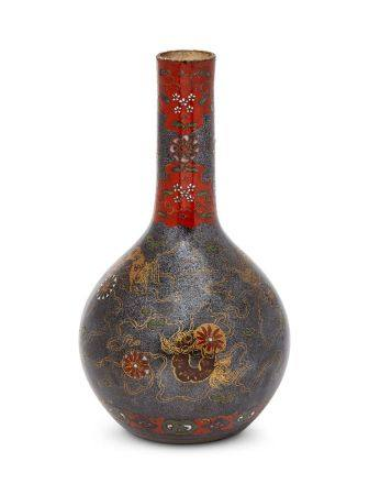 A Chinese porcelain monochrome bottle vase, 17th century, covered with a black silver-speckled