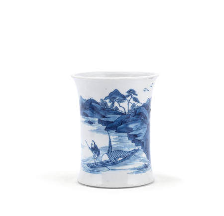 A blue and white 'landscape' brush pot Kangxi