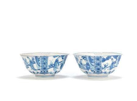 A pair of blue and white lobed square bowls Chenghua six-character marks, Kangxi (2)