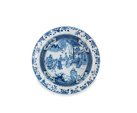 A blue and white 'Romance of the Western Chamber' basin  Kangxi