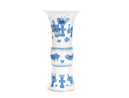 A blue and white 'Precious Objects and Antiques' beaker vase, gu Kangxi