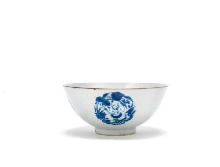 A blue and white and anhua 'boys' bowl  Shunzhi