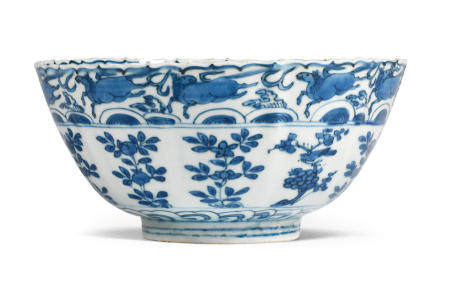 A blue and white 'Kraak porcelain' lobed bowl Circa 1585-1600