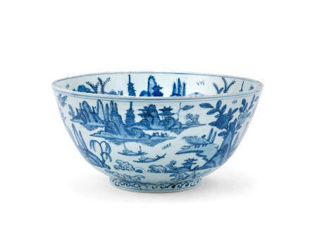 A large blue and white 'landscape' bowl Wanli