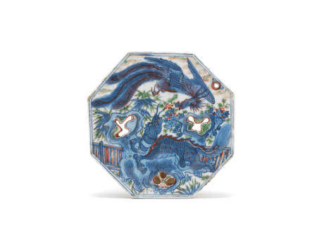 An underglaze blue and polychrome pierced octagonal plaque Probably late Ming Dynasty