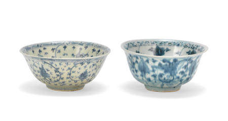Two blue and white 'Vajra and lotus' bowls Ming Dynasty (2)