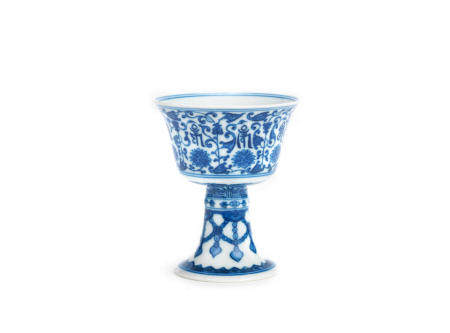 A blue and white stem cup Qianlong six-character mark and probably of the period