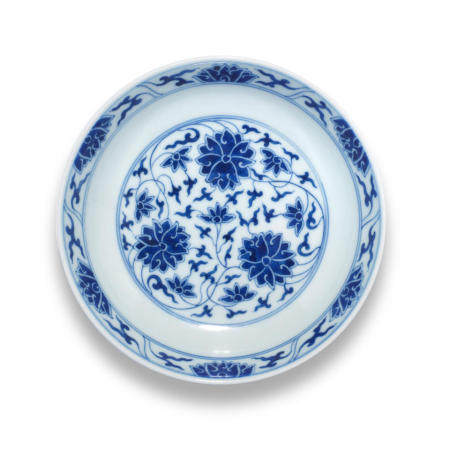 A blue and white 'lotus' dish Guangxu six-character mark