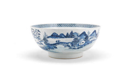 A large blue and white 'landscape' punch bowl 18th century