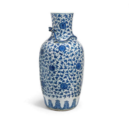 A large Ming-style blue and white baluster vase Late Qing Dynasty