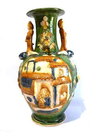 An Amber, Cream & Green Vase, with Figures on the Shoulder i