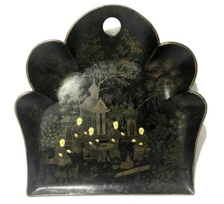 A Chinoiserie Shaped Crumb Tray, Black Lacquer with Gentlema
