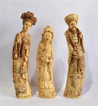 Three Composition Carved Figures, an Emperor, Empress and Wi