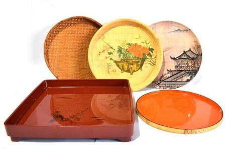 Five Painted & Lacquer Trays, Circular & Square