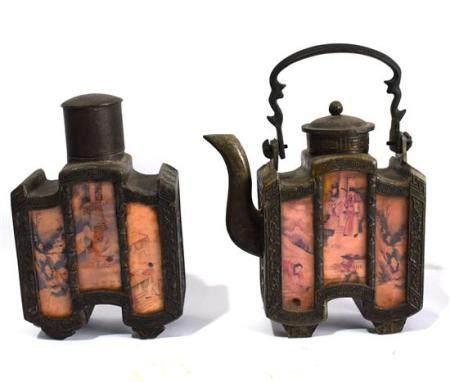 A Bronze Teapot & a Tea Caddy,