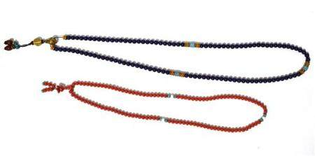 Two Strands of Buddhist Beads, Carved Coral with Turquoise S