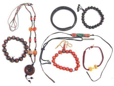 A Horn Snake Bangle, Four Buddhist Bracelets & Three Pendant