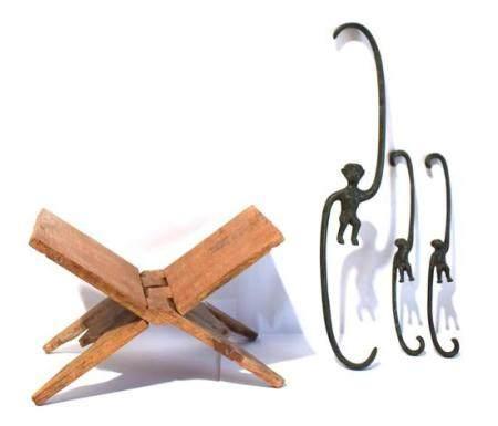 Three Bronze Monkey Hanging Hooks & a Folding Book Stand, [4