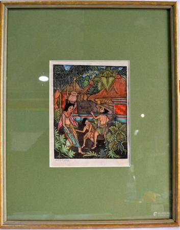 Ink & Colour on Paper of Girls in a Tropical Garden, Signatu