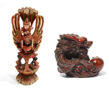 A Carved Garuda with a Monkey on its back, + a Composition D