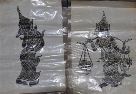 Two Thai Rubbings of Guardian Angels, mid 20th Century