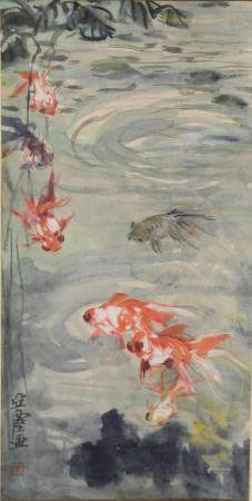 CHINESE PAINTING OF GOLDFISH, WANG YACHEN