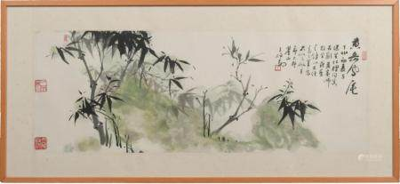 CHINESE PAINTING OF BAMBOO BY WANG BOMIN