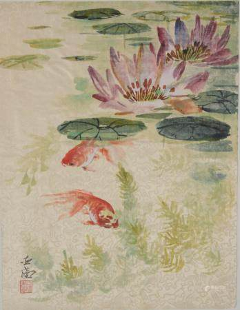 CHINESE PAINTING OF GOLDFISH BY WANG YACHEN
