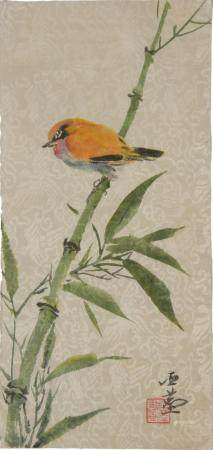 CHINESE PAINTING WITH BIRDS AND BAMBOO BY WANG YACHEN