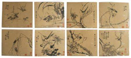 SET OF 8 ALBUM PAINTINGS, ATTRIBUTED TO LIN LIANG