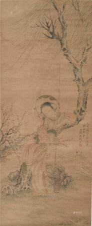CHINESE PAINTING OF A LADY BY GAI QI (1773-1828)