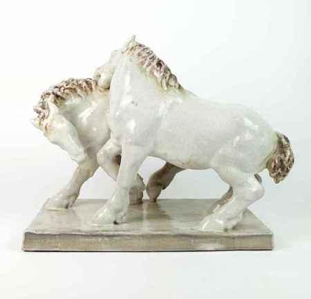 BACH, Else (*1899 Heidelberg †1951 Pforzheim) für Karlsruher Majolika, Große Pferdegruppe auf