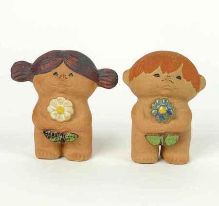 LARSON, Lisa (* 1931 Schweden), für Porzellanfabrik Gustavsberg, Adam und Eva, Terracotta
