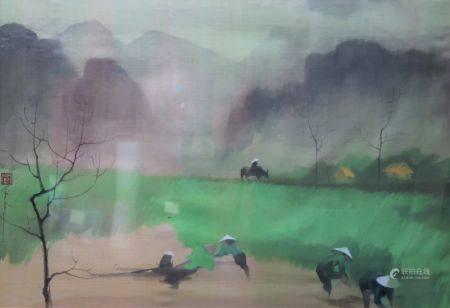 Nguyen VAN GIAO (1916-1996). La rizière. Aquarelle gouachée sur papier de soie portant un cache
