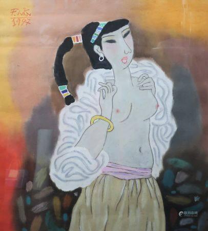 An Hai PHAM (1967-). Jeune femme dénudée. Pastel gouaché portant une signature en haut à droite