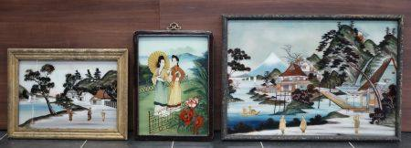 Lot de trois fixés sous verre à décors de paysages et personnages. 43x60cm, 34x24cm, 24x34cm