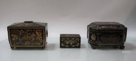 Lot de trois boites à bijoux en bois asiatiques